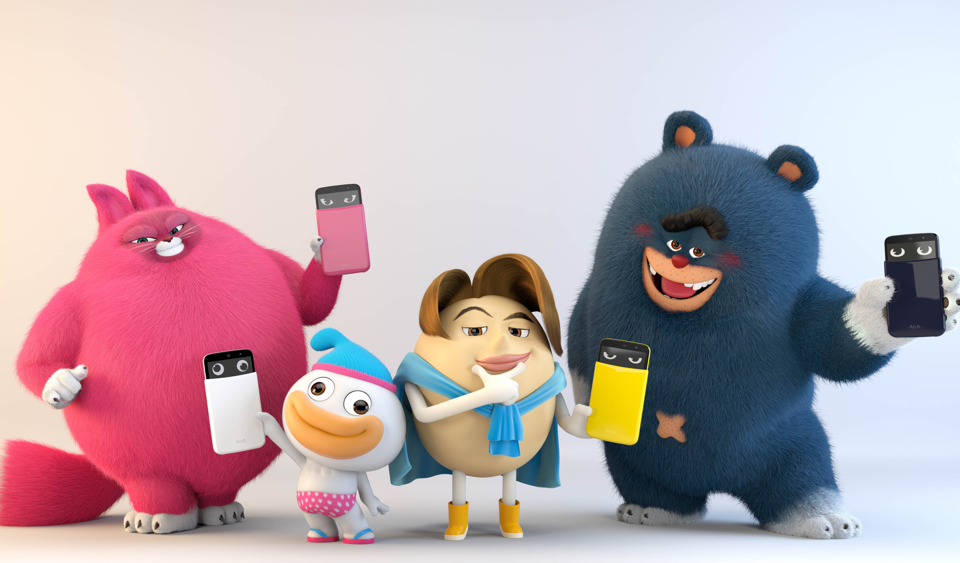 Each of four characters is holding Yo-Yo, Wooky, Eggy and Soul.