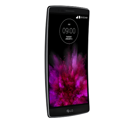 Front view of LG's G Flex2 smartphone facing 15 degrees to the right