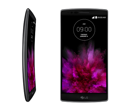 A front view of LG's G Flex2 smartphone on the right side and a side view of GFlex2 on the left side facing to the right