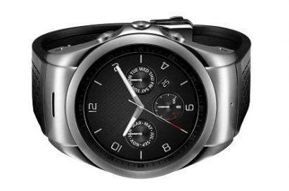 Front view of LG Watch Urban LTE which is laid in a horizontal position