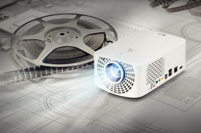 A right-side of LG Minibeam Pro model PF1500 emitting light