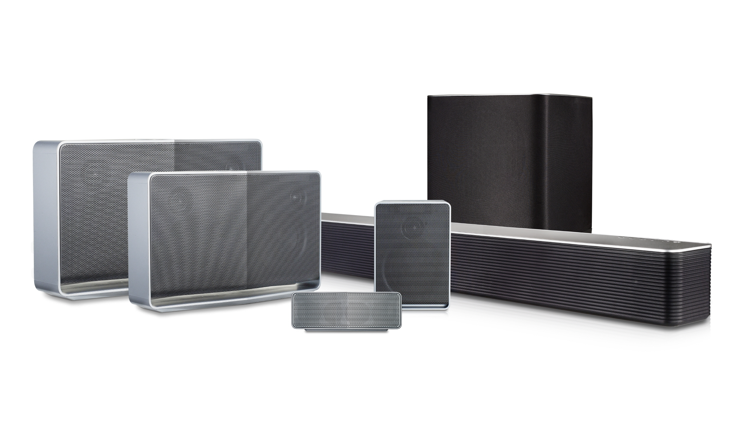 The LG Music Flow lineup featuring its LG battery-powered Portable Wi-Fi Speaker, LG Wi-Fi Speakers and LG Wi-Fi Soundbars