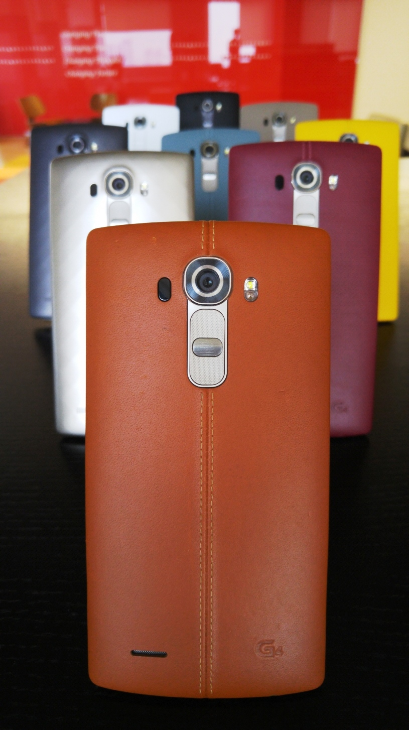 LG G4 handsets wearing three unique material covers in three colors(Metallic Gray, Shiny Gold, Ceramic White) with 3D patterns and handcrafted, genuine full grain leather back cover in six colors(Sky Blue, Black, Beige, Yellow, Red, Brown)