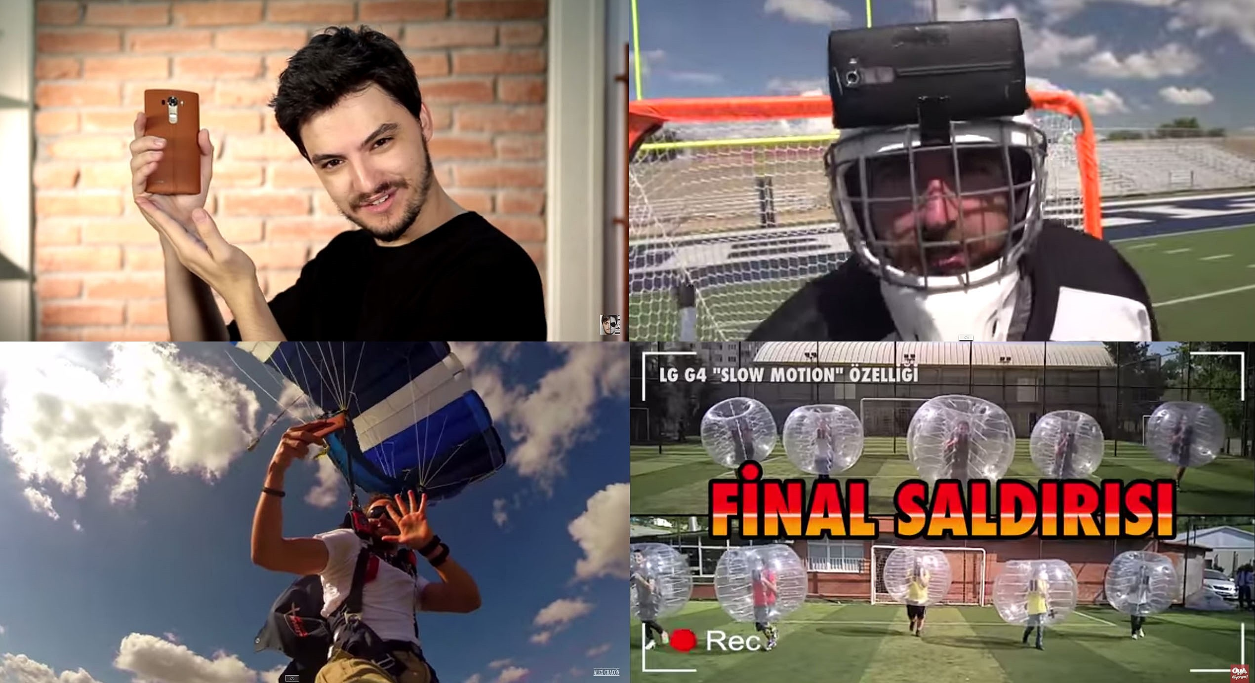 4 screen shots of videos of five popular Youtubers dealing with LG G4's best features. Clockwise from upper left; Felipe Neto, Dude Perfect, OHA Diyorum, Alex Chacón
