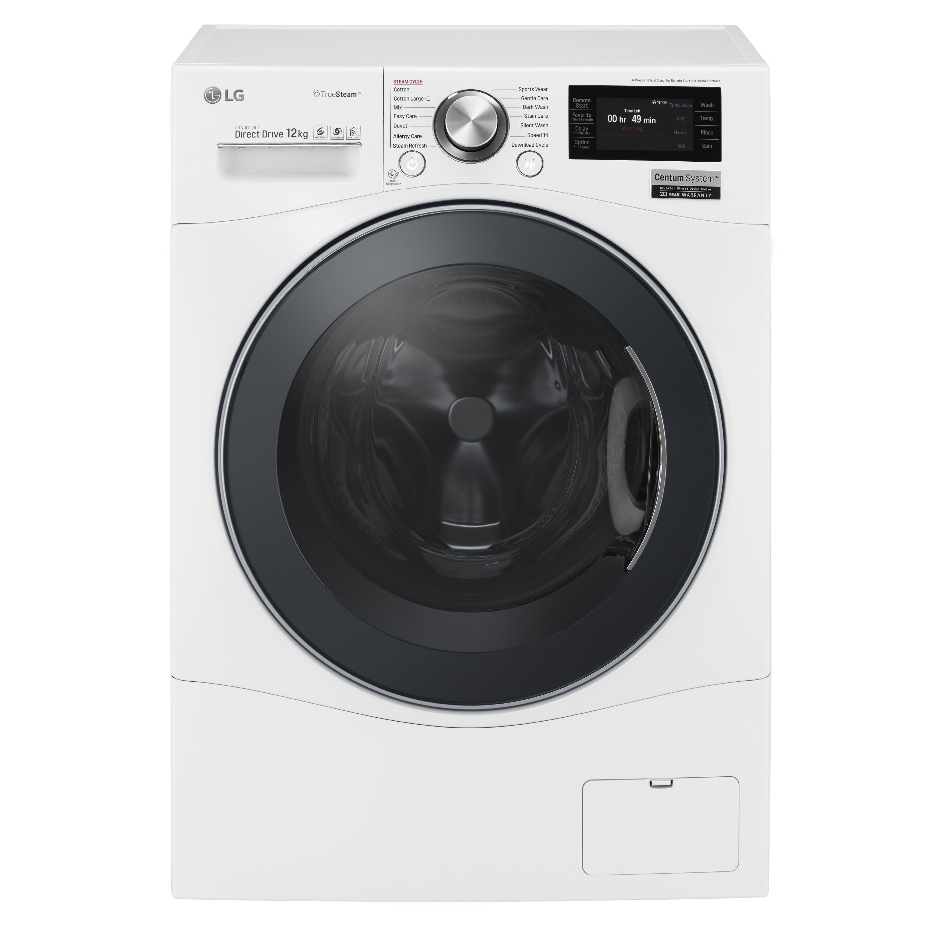Front view of LG front-load washing machine