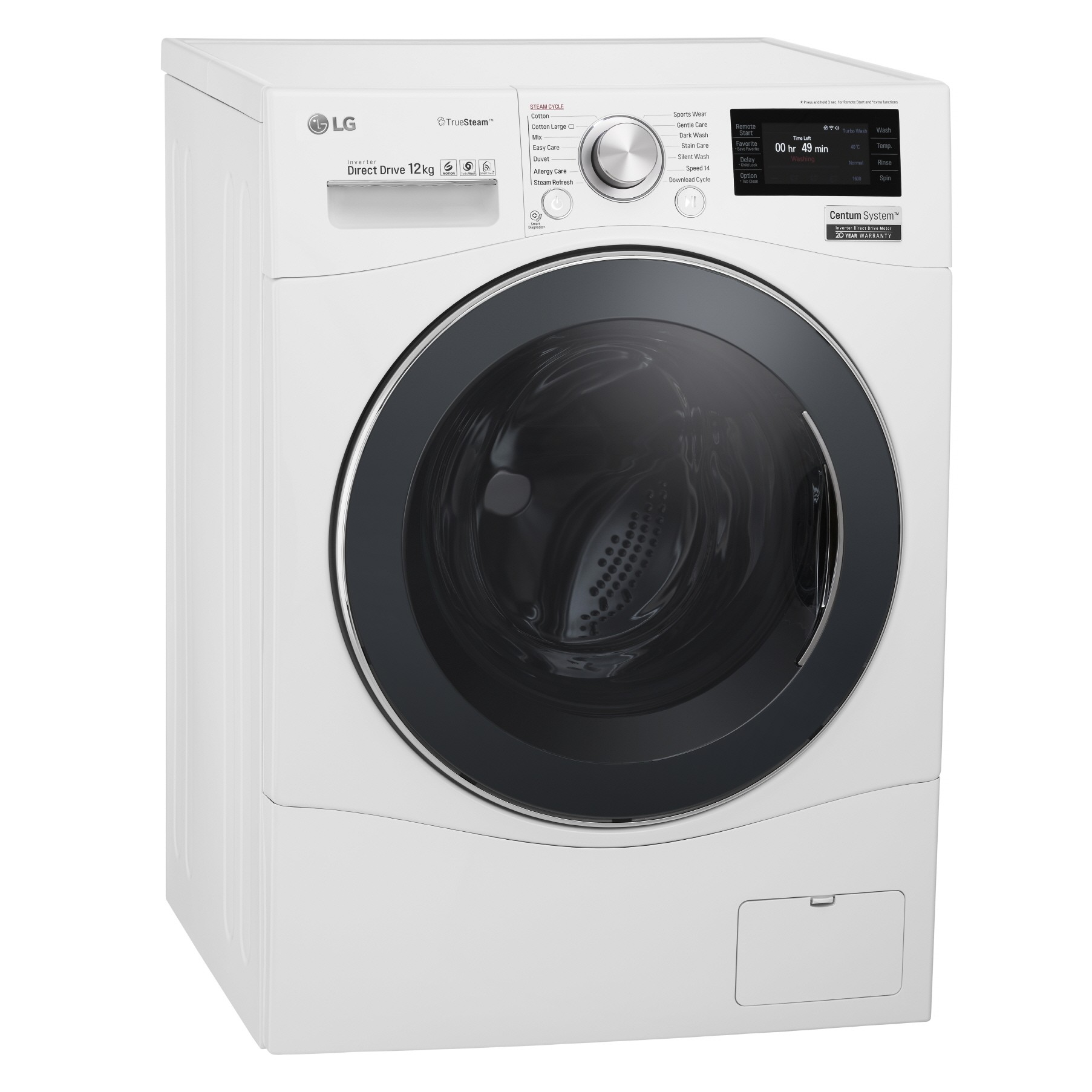 Side view of LG front-load washing machine