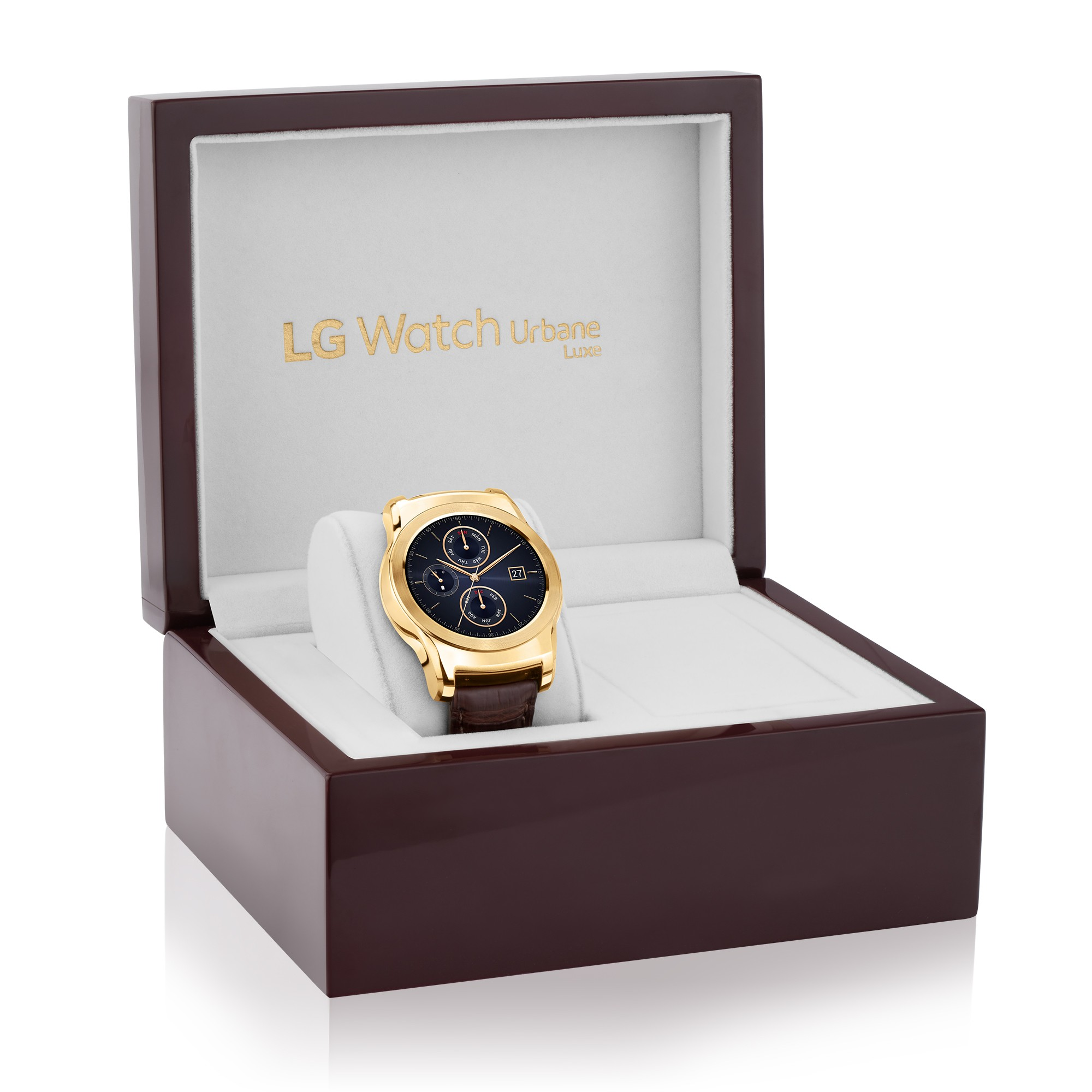 The LG Watch Urbane Luxe placed inside a high-gloss box that complements the smartwatch