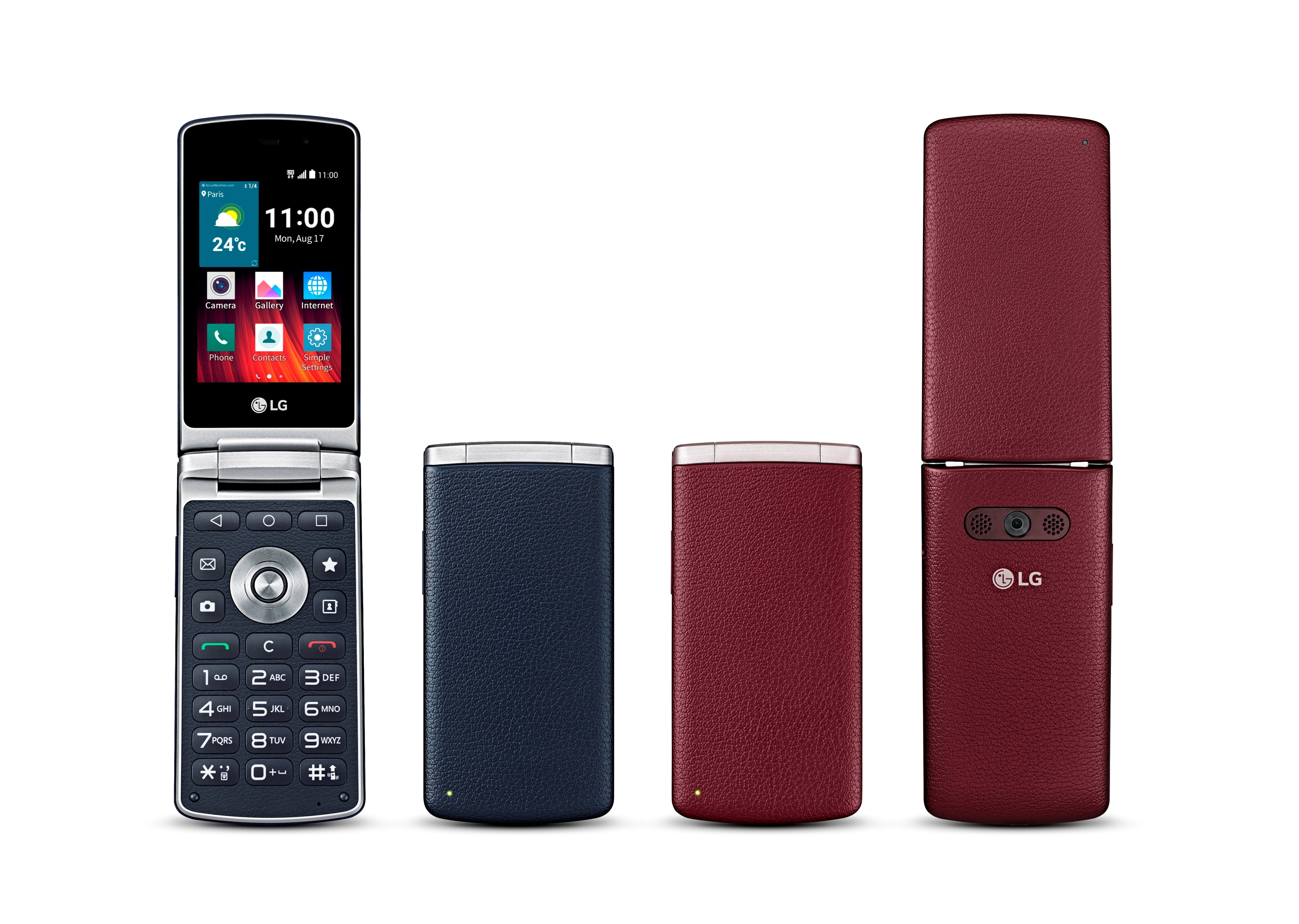 Rear and front views of the LG Wine Smart while open and closed, showing off its Navy and Burgundy models.