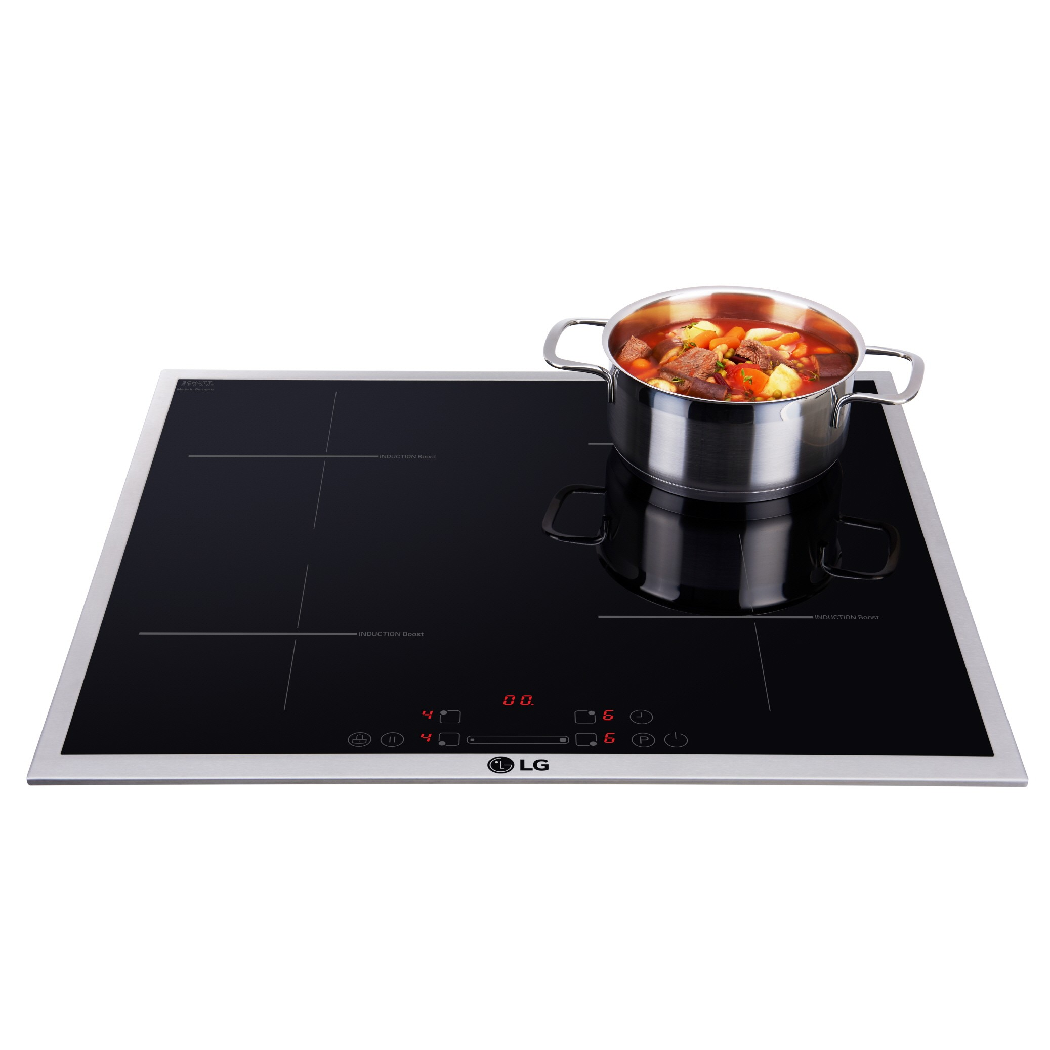 LG Studio Induction with a cooking pot on the right upper section