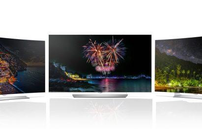 Front views of the LG 2015 OLED TV Line up models 55EG9200, 65EF9500 and 55EG9100