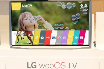 A Live TV channel provided by the LG webOS 2.0 Value Pack Upgrade is displayed on one of LG's Smart TVs