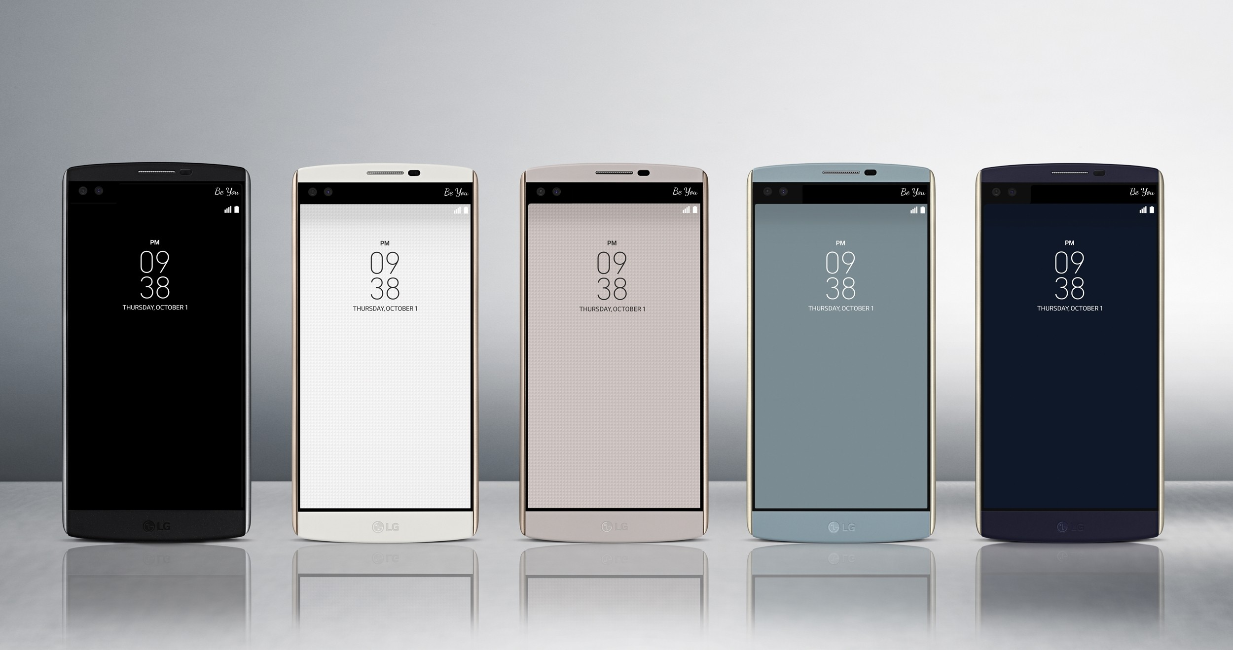 The front view of the LG V10 in Space Black, Luxe White, Modern Beige, Ocean Blue and Opal Blue