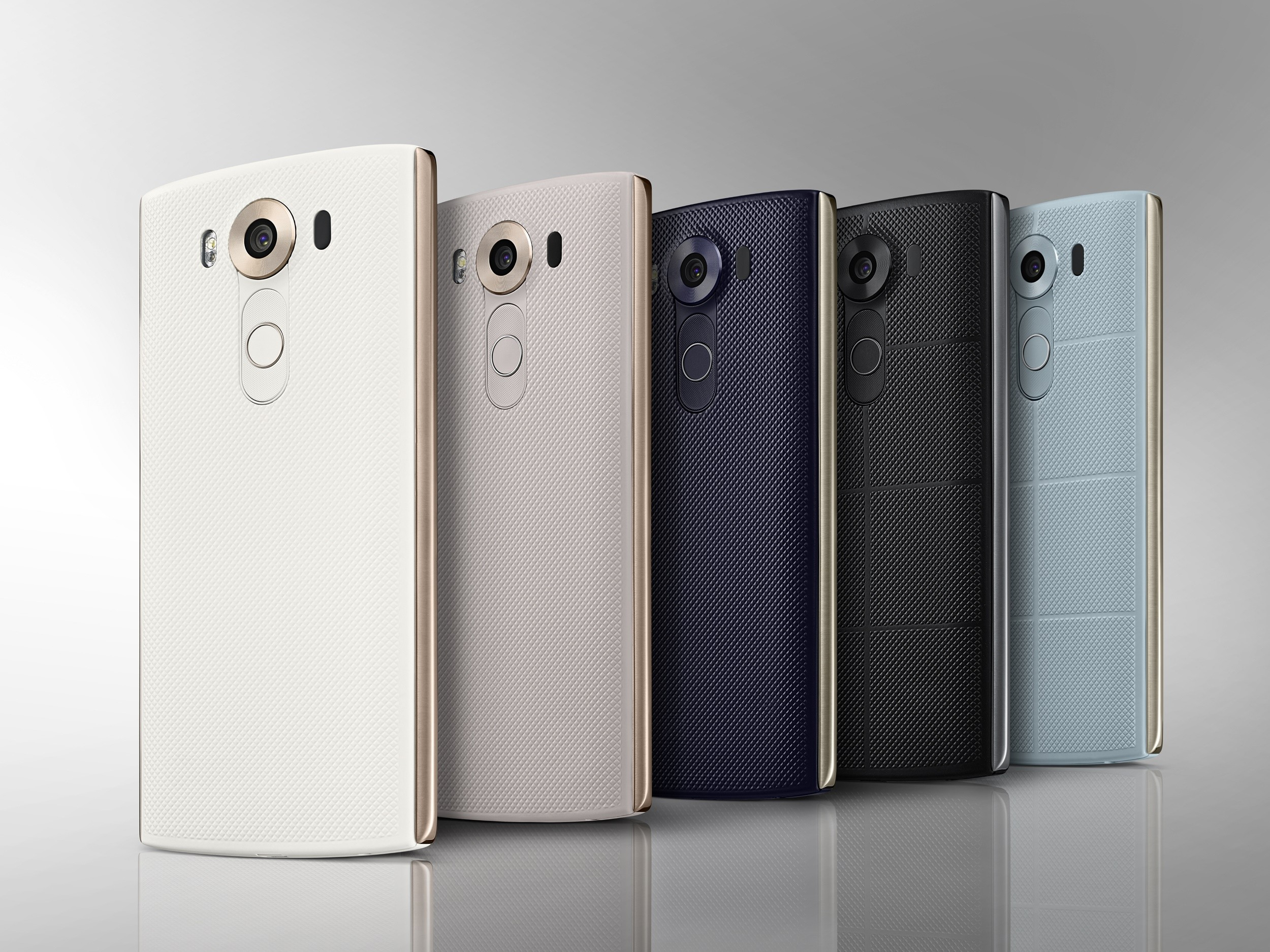 The back view of the LG V10 in Luxe White, Modern Beige, Opal Blue, Space Black and Ocean Blue