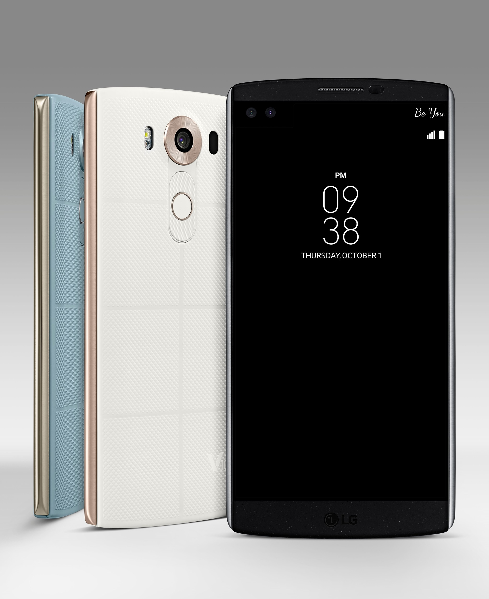 The front view of the LG V10 in Space Black and the back view of the same device in Luxe White and Ocean Blue