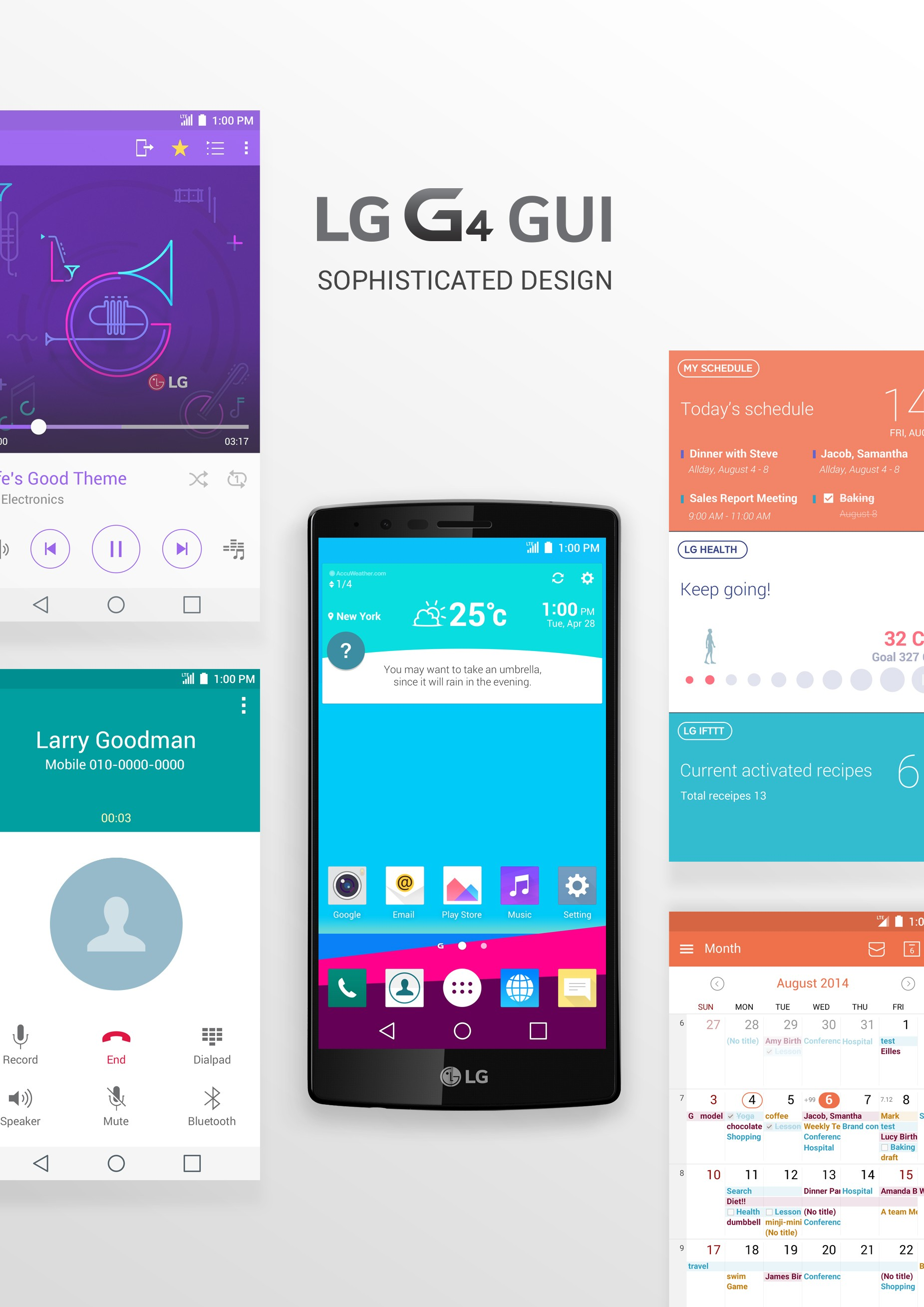 A diagram showing off LG G4 GUI's sophisticated design, both in design and user interface.