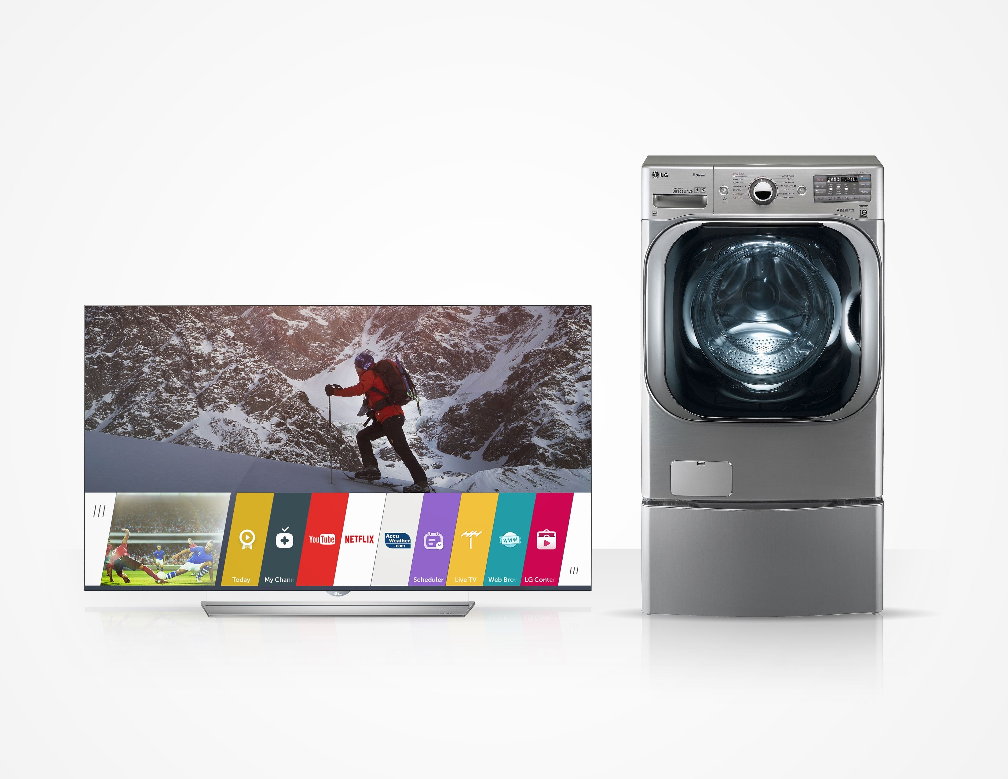 USA TODAY's Best Television of the Year 2015 award-winner LG flat 4K OLED TV and the Best Washing Machine of the Year, LG's Mega-Capacity Front-Load Washer.