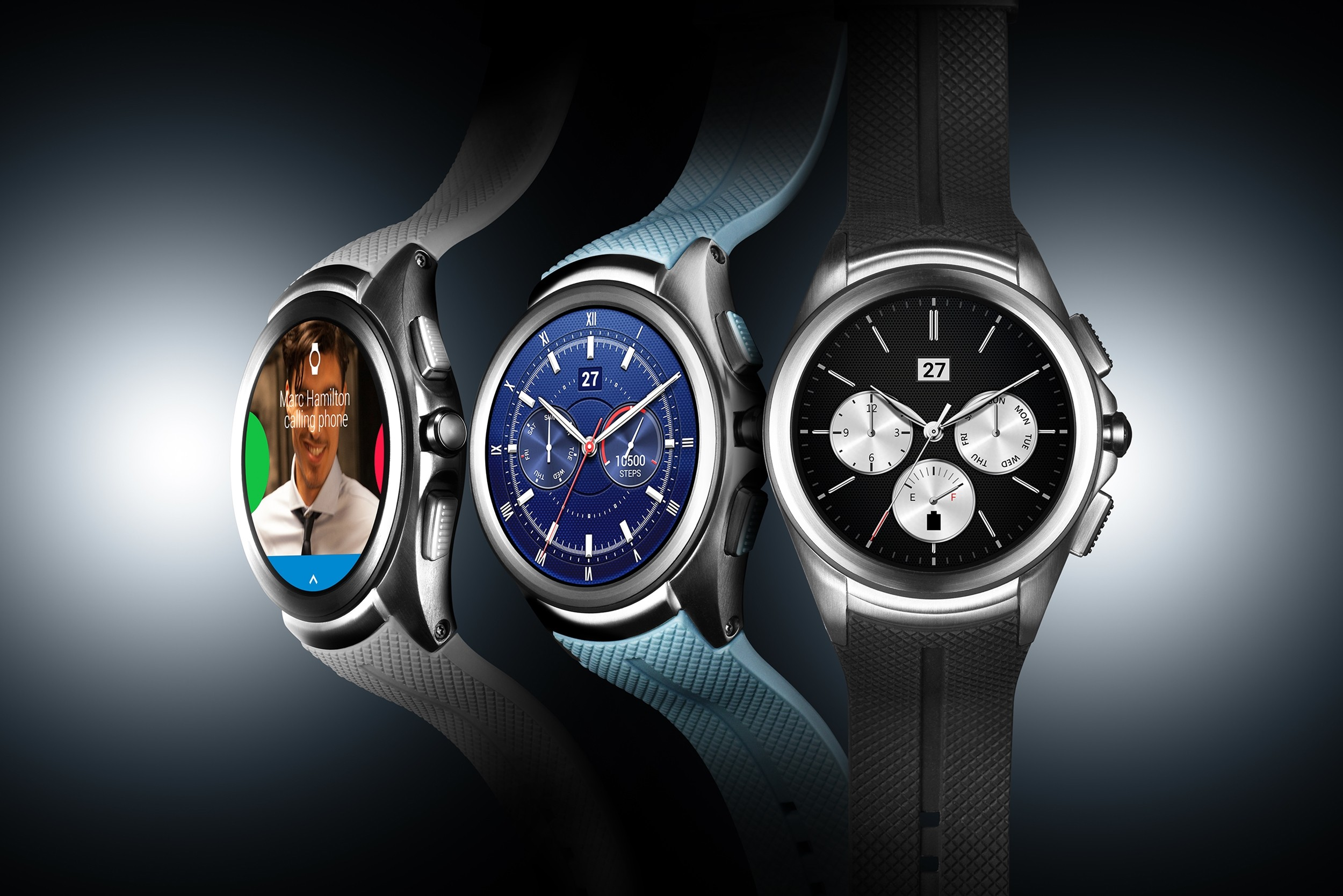 The front and side views of the LG Watch Urbane 2nd Edition in Space Black and Opal Blue