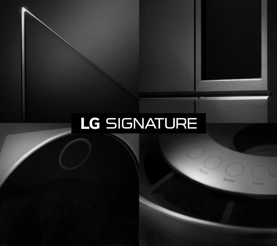 A promo shot of LG SIGNATURE's high-end offerings, with stylish close-ups that show off their brilliant designs.
