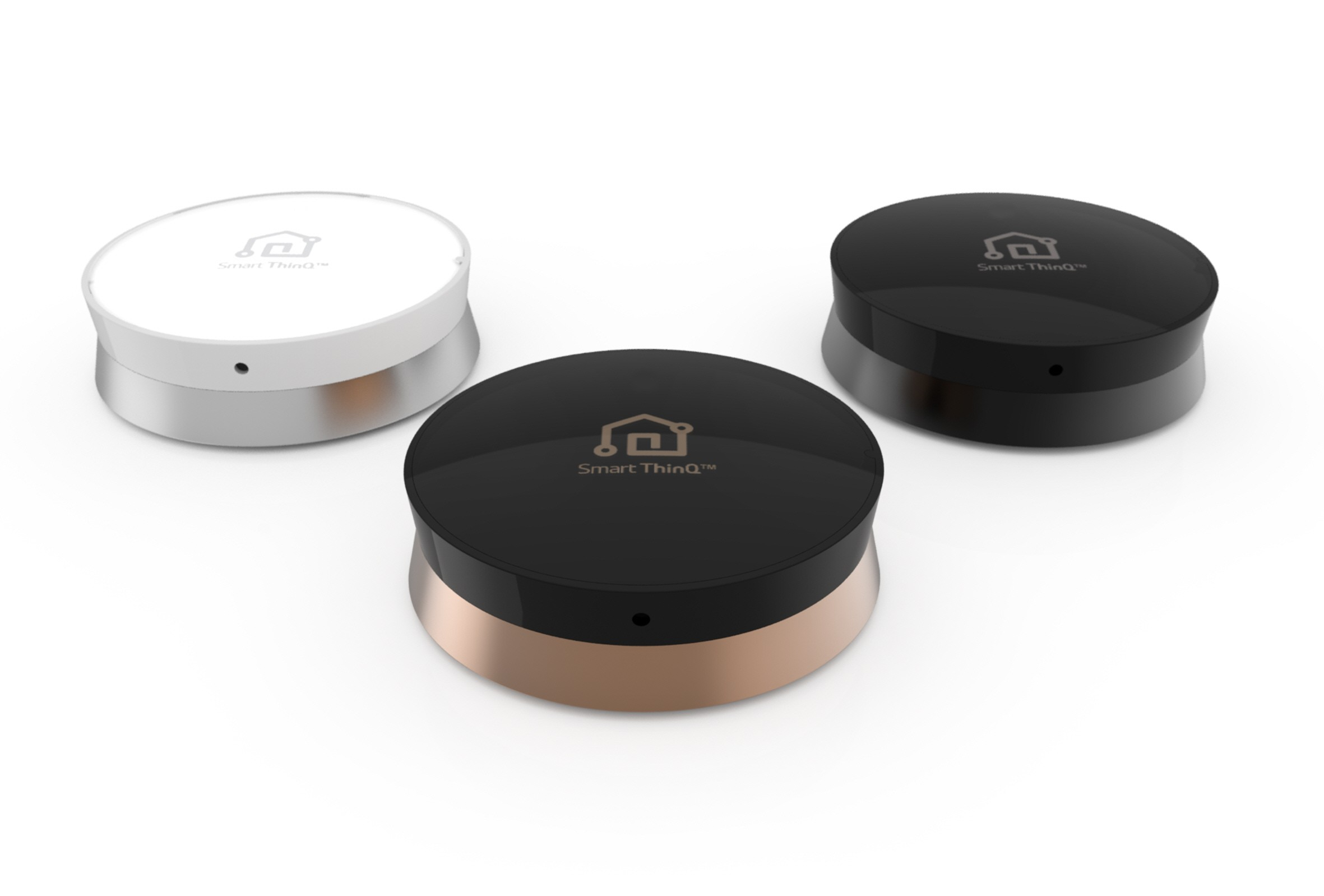 Three SmartThinQ™ Sensors with different colors, white and silver, black and gold, and black.