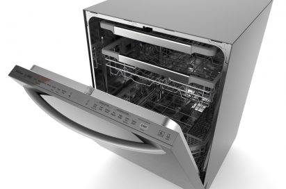LG Dishwasher with its door slightly opened