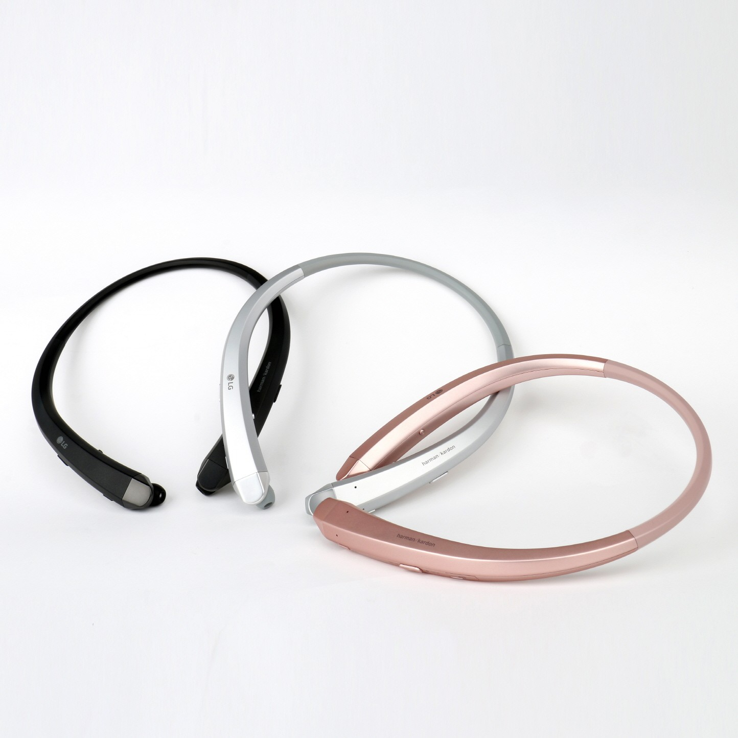 The top and side view of the LG TONE Infinim™ in Black, Silver and Rose Gold