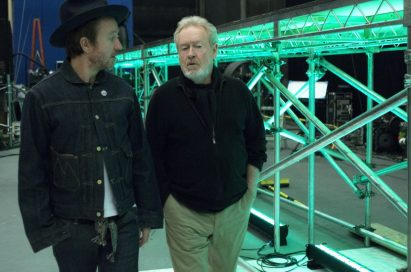 Father and Son director duo, Ridley and Jake Scott, talking at the production site of LG's first ever Super Bowl commercial