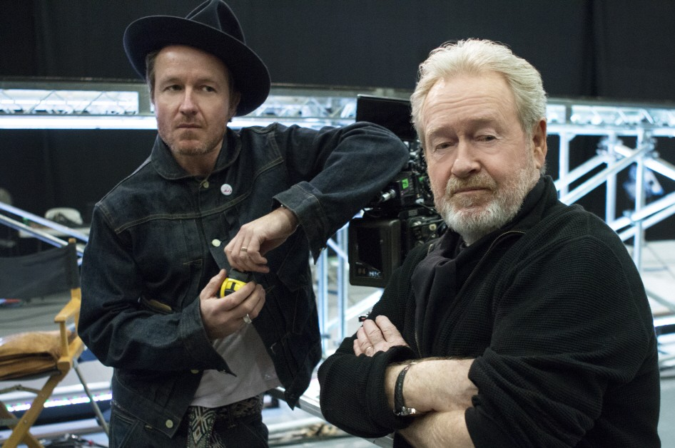 Father and Son director duo, Ridley and Jake Scott, pose together at the production site of LG's first ever Super Bowl commercial