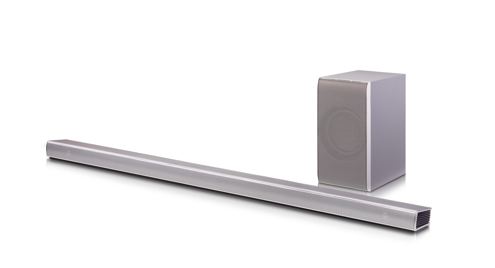 The LG 2016 Soundbar SH8 in front of a wireless subwoofer