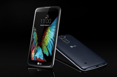 The front and back view of the LG K10 in Indigo