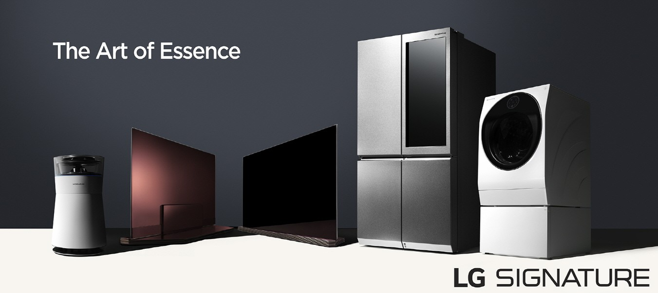 The LG SIGNATURE lineup, a beautiful 4K HDR-enabled OLED TV, a more advanced TWIN Wash™ washing machine, a cutting-edge Door-in-Door™ refrigerator and a futuristic hybrid air purifier.