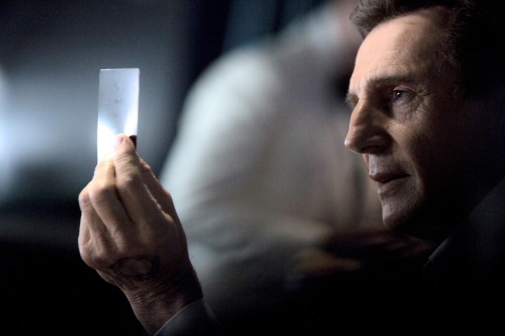 A scene from the LG Super Bowl Ad preview featuring film star Liam Neeson.