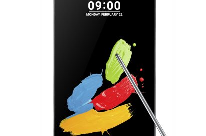The front view of LG Stylus 2 in Titan and its pen with a nano-coated tip on top of the screen