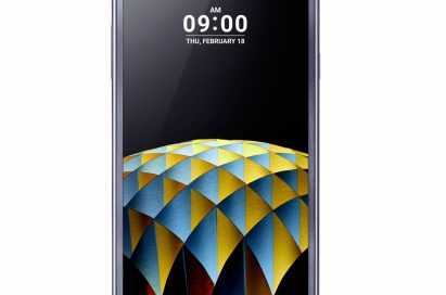 The front view of the LG X cam in Titan Silver