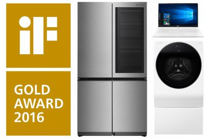 The LG SIGNATURE refrigerator, LG SIGNATURE washing machine and the LG gram 15 all took home 2016 iF GOLD AWARDs.