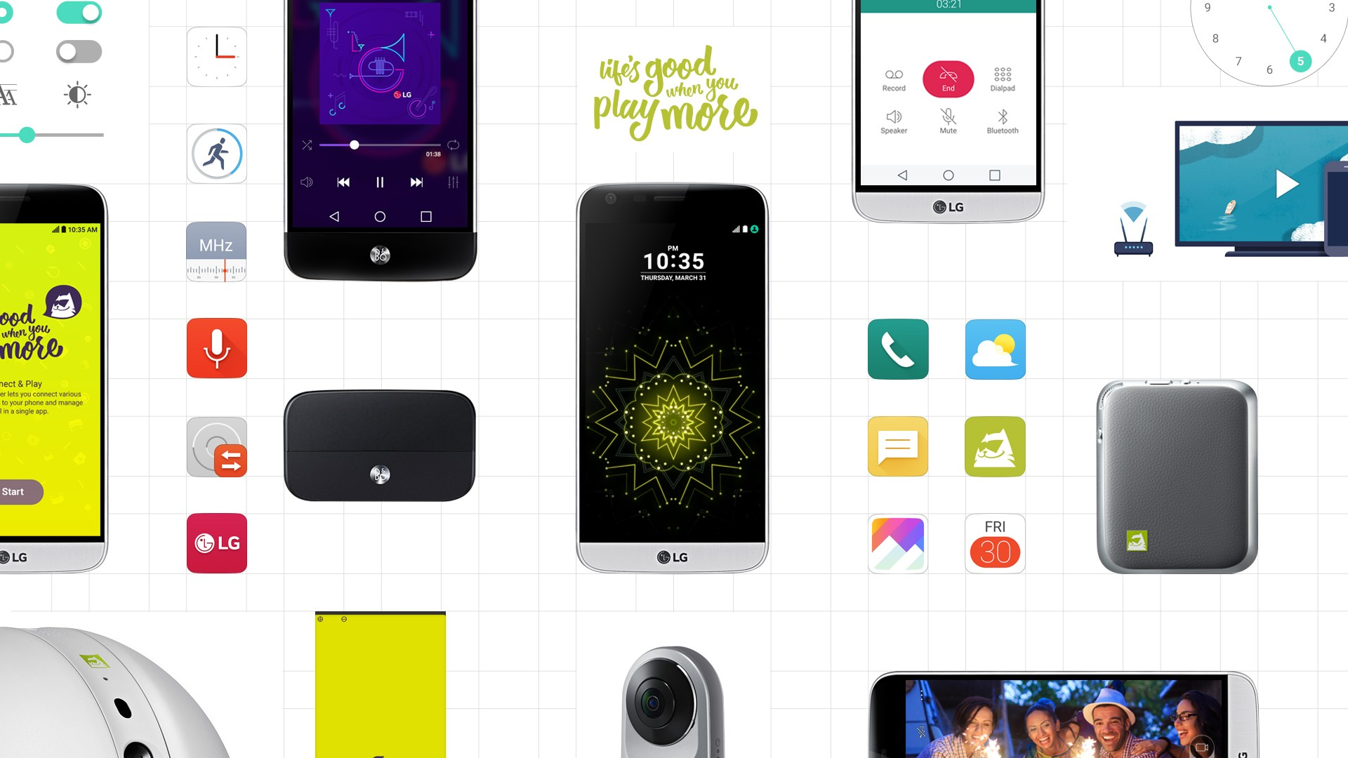 Wallpaper displaying the LG G5, the newly upgraded icons of the LG G5 GUI, and various companion devices, such as the LG CAM Plus, LG Hi-Fi Plus with B&O PLAY, Rolling Bot and 360 CAM