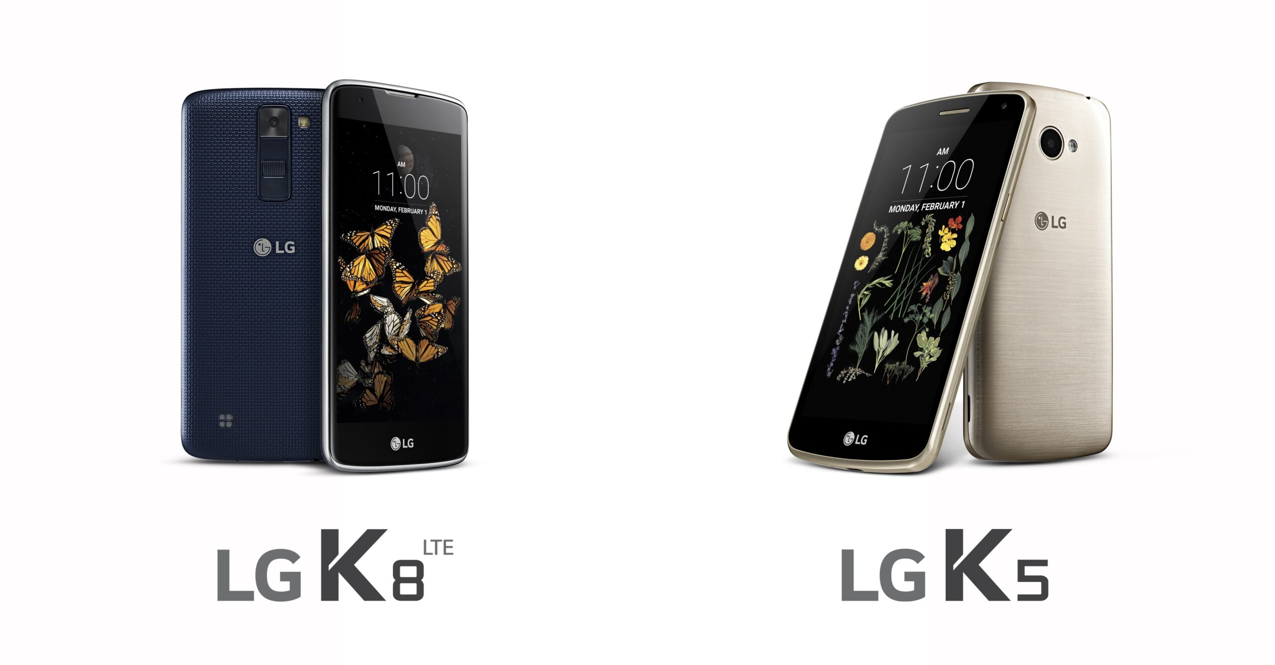 The front and back view of the LG K8 in Indigo and the front and back view of the LG K5 in Gold