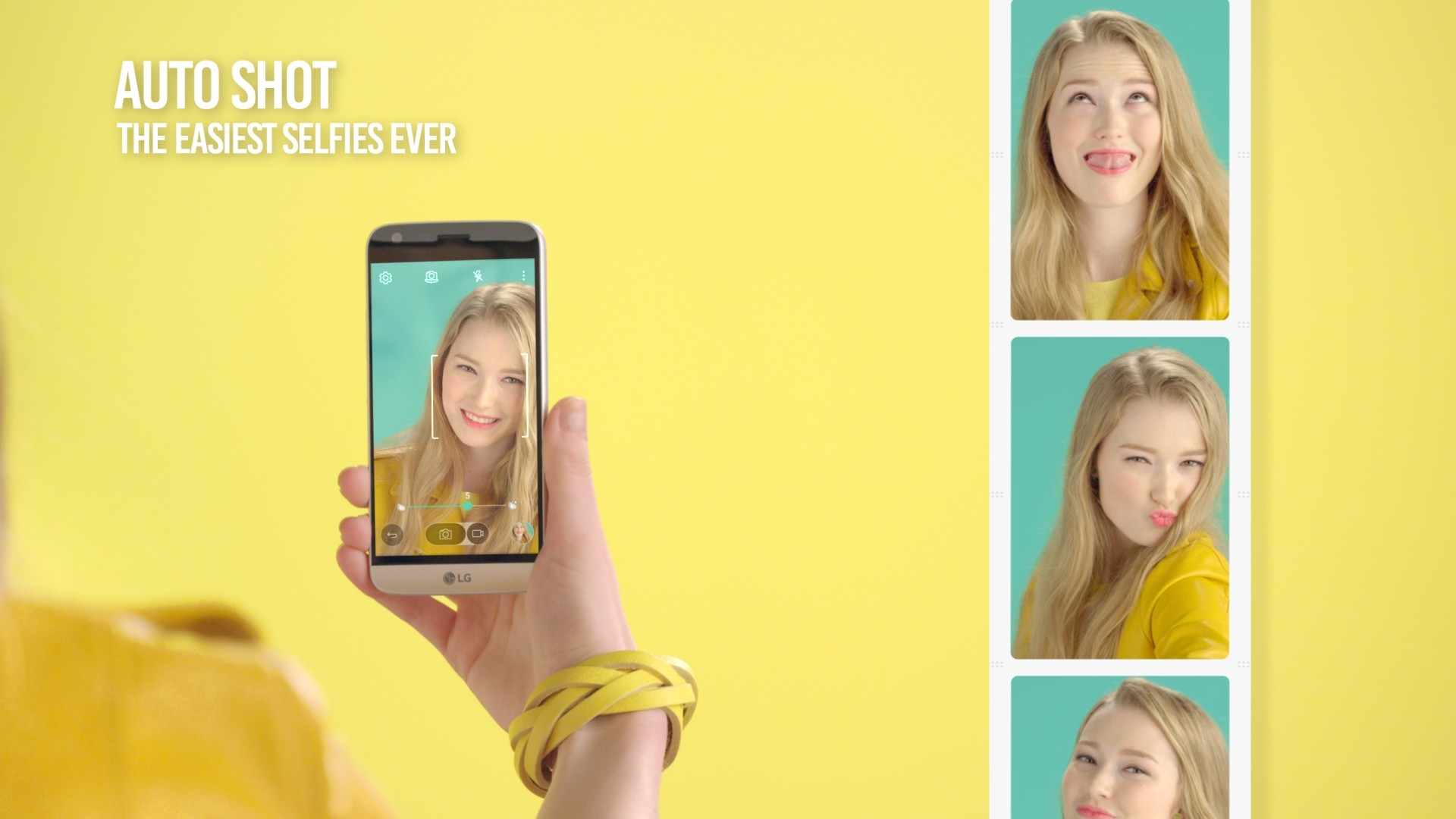 A girl takes selfies with the LG G5's Auto Shot feature