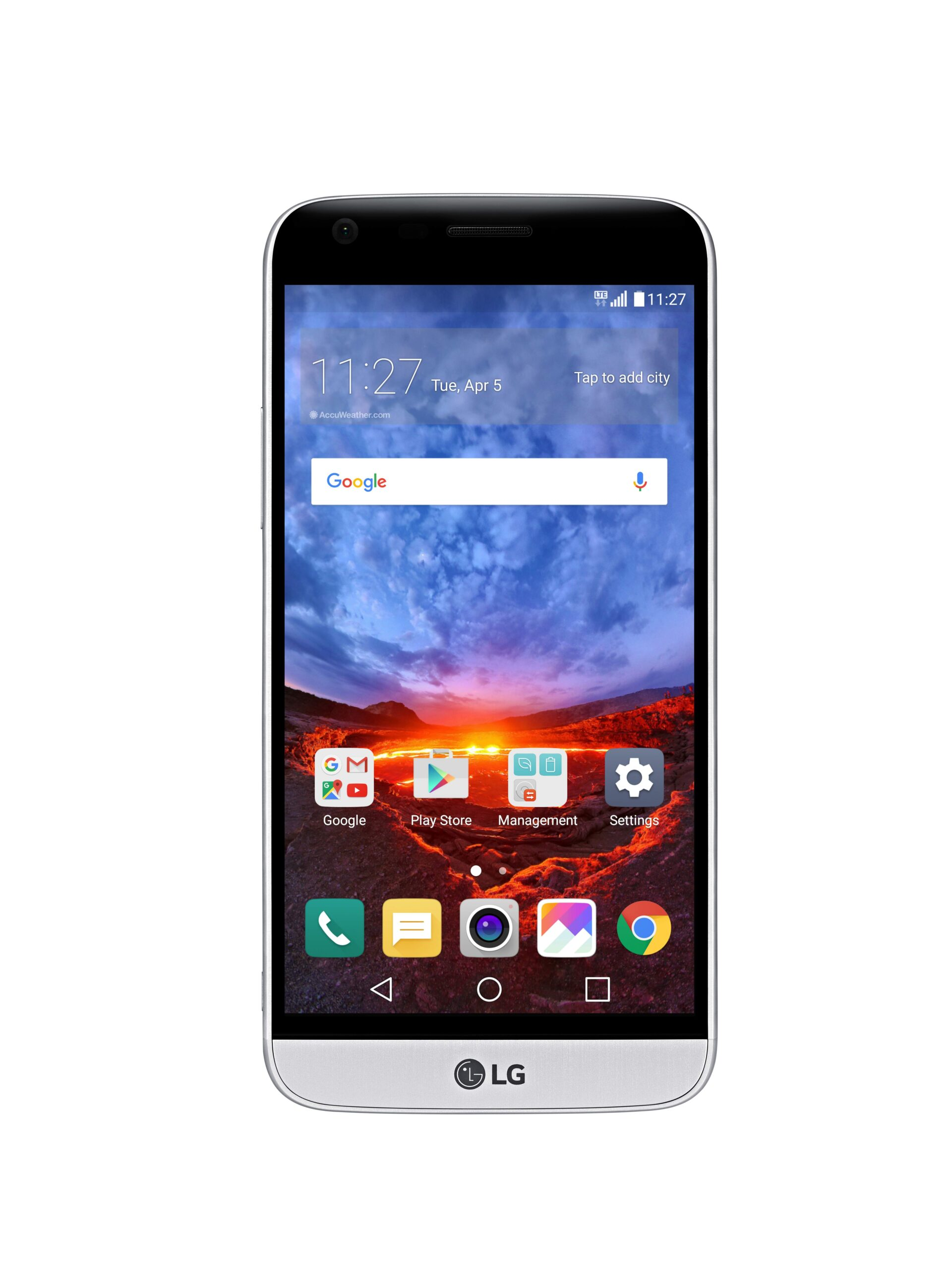 The front view of the LG G5 in Silver with the new 360-degree VR wallpaper displaying the crest of a volcano