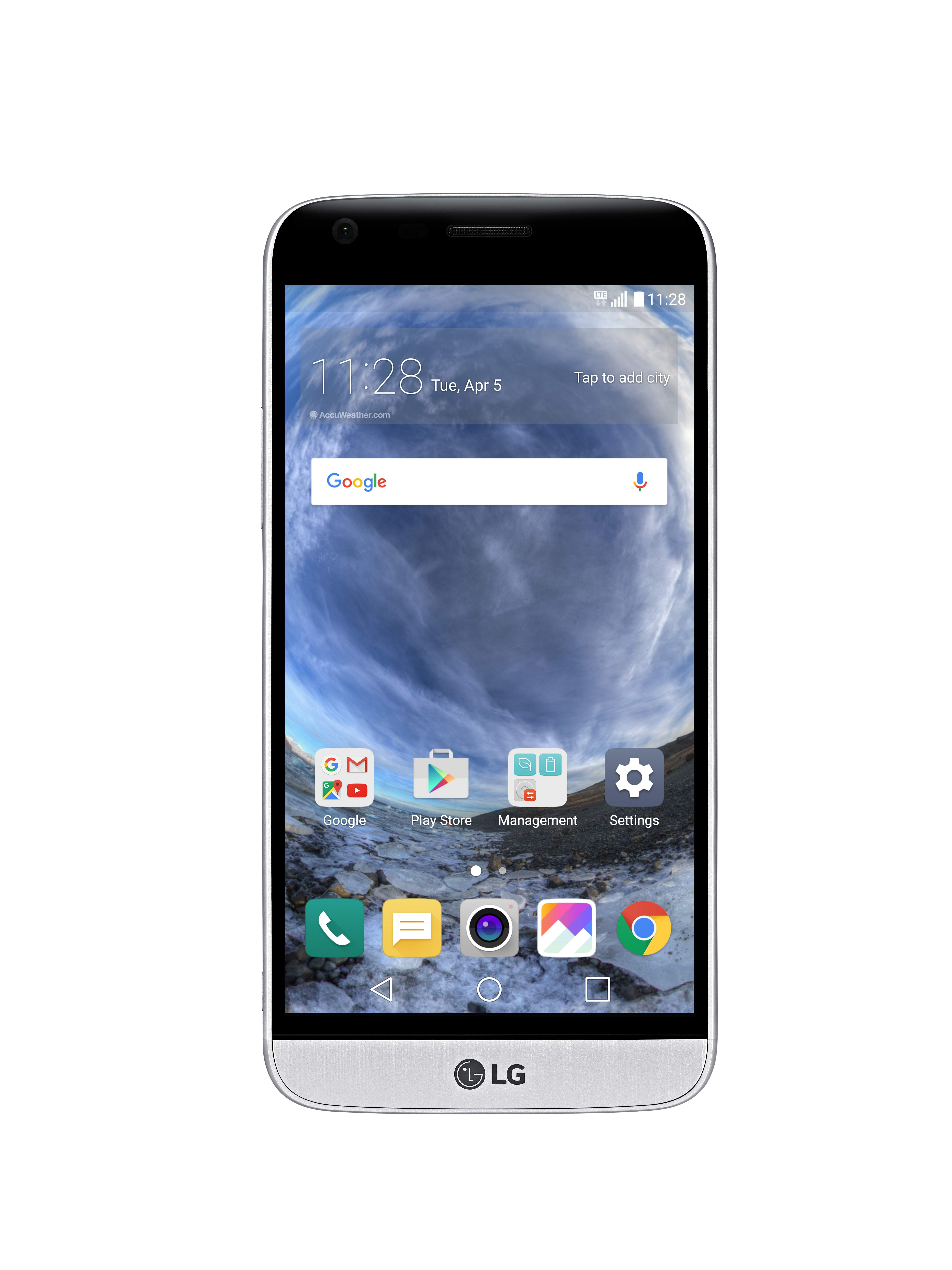 The front view of the LG G5 in Silver with the new 360-degree VR wallpaper displaying clouds