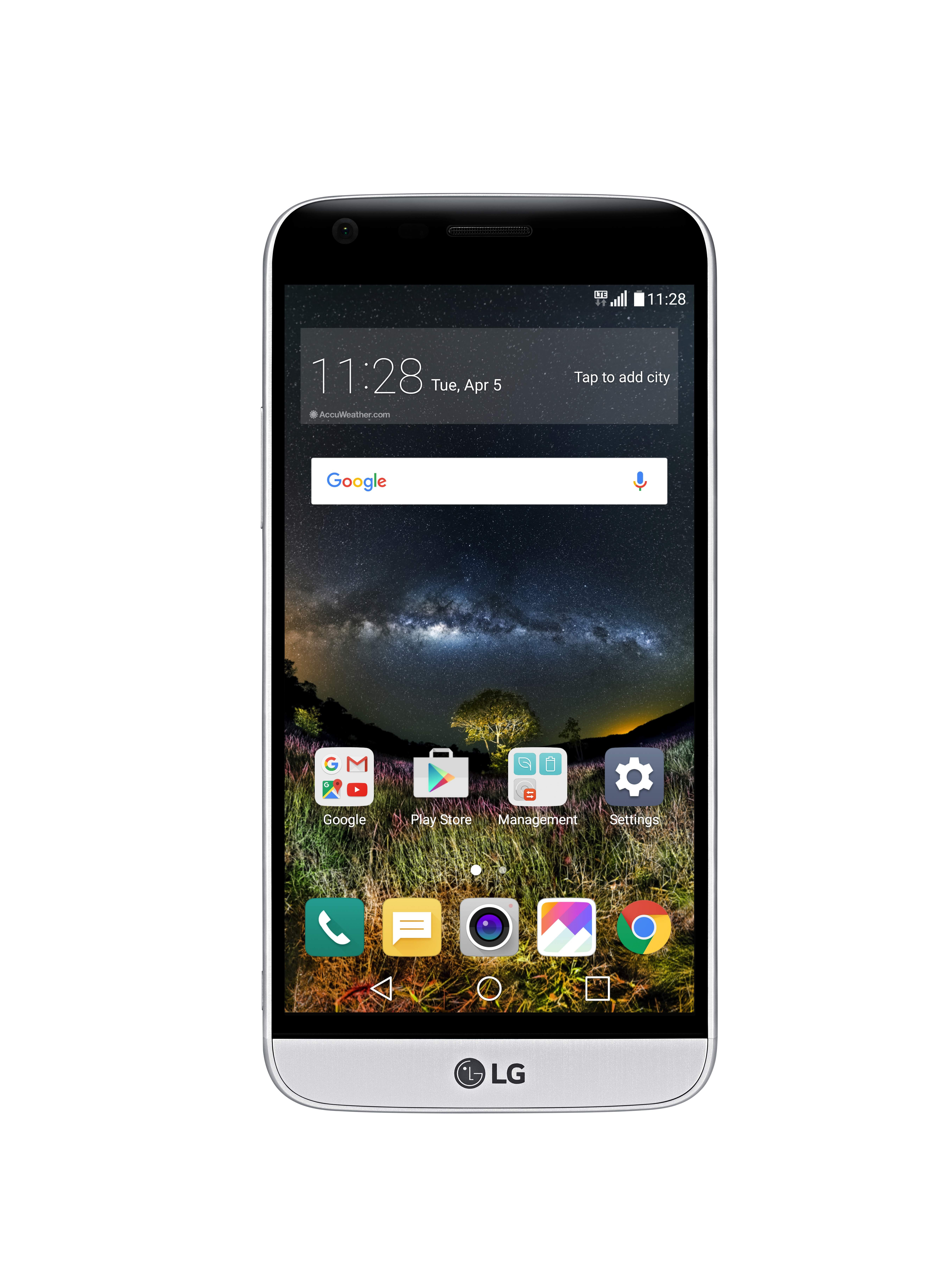 The front view of the LG G5 in Silver with the new 360-degree VR wallpaper displaying nature and the night sky