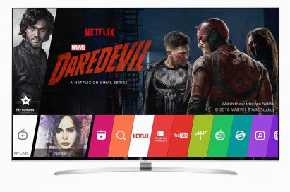 The main page of LG TV's Smart TV platform with a preview of Netflix drama Daredevil
