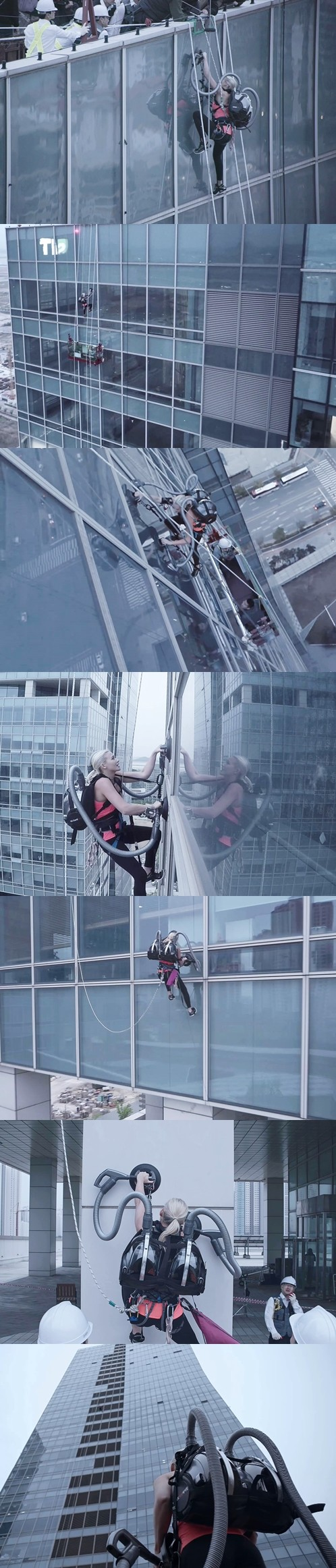 Series seven images showing Sierra climbing up the building with LG CordZero™ canister