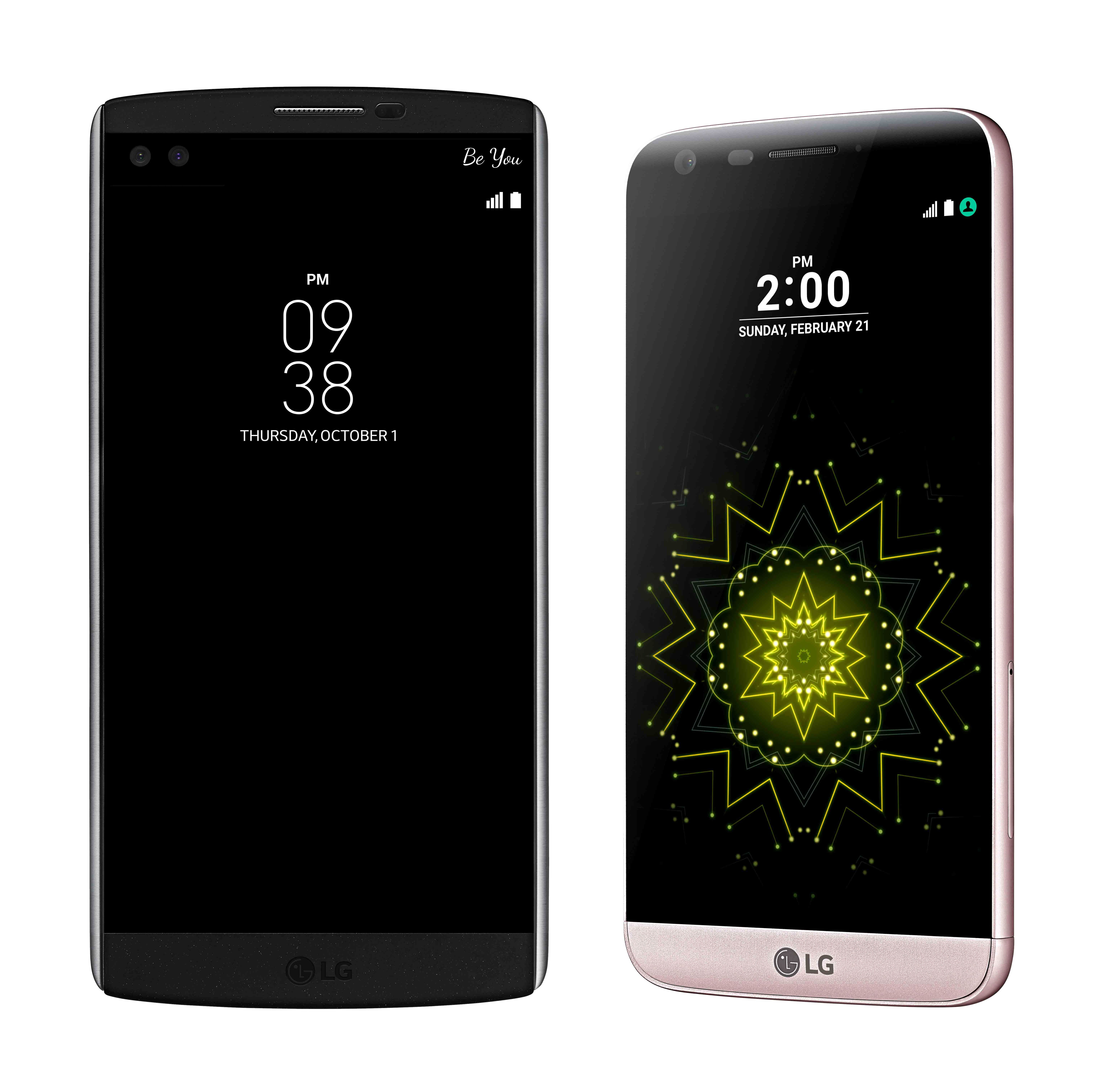 The front view of the LG V10 in Space Black and the LG G5 in Pink