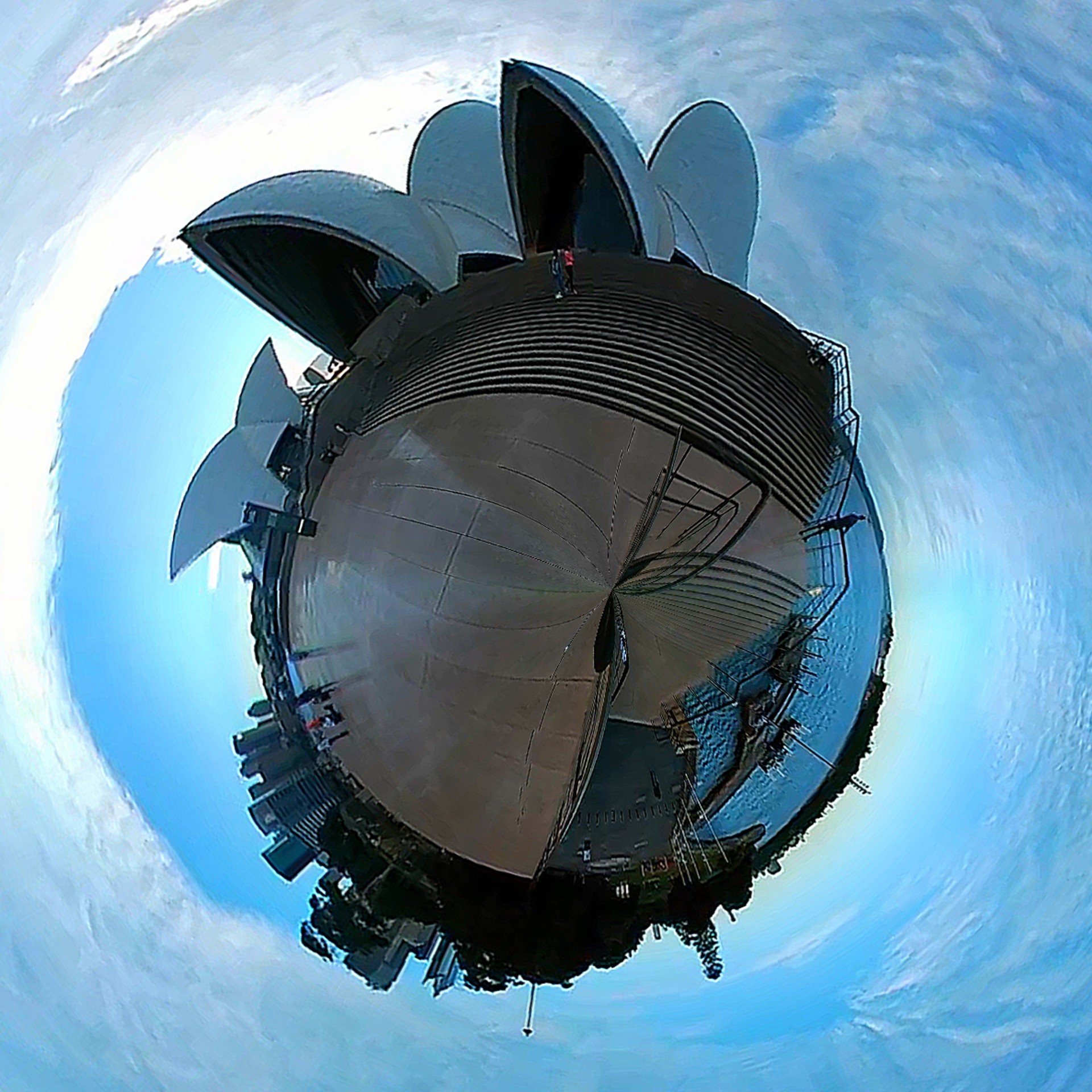 A 360-image taken on LG 360 CAM at the Opera House in Sydney, Australia