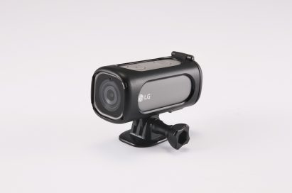 The right side view of the LG Action CAMLTE in Titan Silver inside the included mount