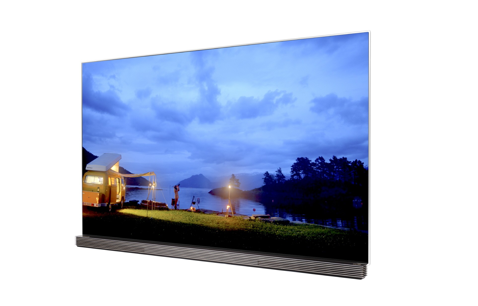 A right-side view of LG OLED TV with HDR