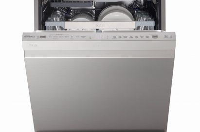 Front view of LG SteamClean™ dishwasher with its door opened
