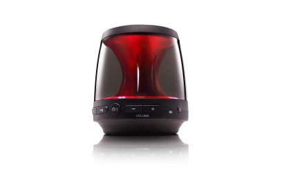 LG Bluetooth speaker model PH1 with built-in mood lighting in red