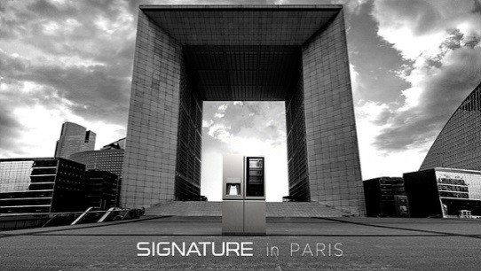 SIGNATURE InstaView Door-in-Door™ refrigerator in front of La Grande Arche in Paris