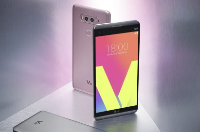 The front and rear view of the V20 in Titan, Silver and Pink